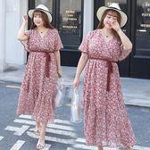 大尺碼  夏季新款大碼女裝胖mm顯瘦加大加肥V領雪紡連衣裙