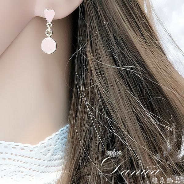 現貨 韓國少女氣質甜美愛麗絲愛心時鐘不對稱耳環 夾式耳環 S93466 批發價 Danica 韓系飾品