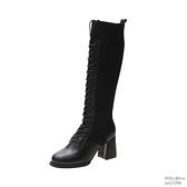 靴子女2019秋款中筒靴繫帶粗跟高筒網紅馬丁騎士靴高跟不膝上靴歐韓時代