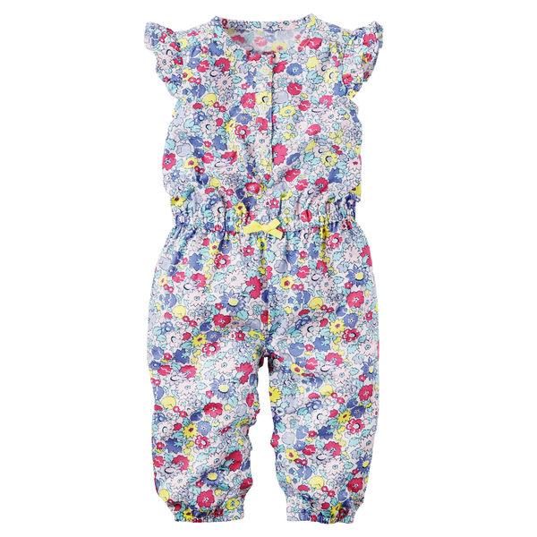 【美國Carter's】純棉連身衣- 粉嫩花卉短袖純棉連身裝 118G293