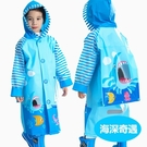 藍螞蟻兒童雨衣幼兒園寶寶雨披小孩學生男童女童環保雨衣帶書包位   MKS免運