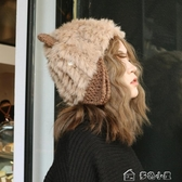 雷鋒帽甜美可愛貓耳朵毛線帽韓版兔毛皮草帽子女日繫秋冬季針織雷鋒