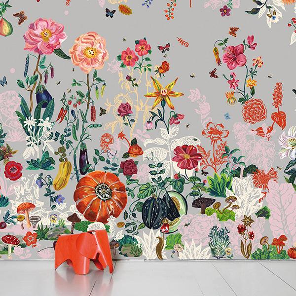 【進口牆紙】Domestic【訂貨單位372cm×3m/套(一套八張壁板)】娜塔莉壁畫 Jardin Gris Nathalie Lete NDL043