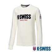 K-SWISS KS CA Sweatshirt圓領長袖上衣-女-米白