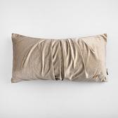 HOLA 素色短絨百摺抱枕 30x60cm-淺棕
