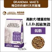 GRANDMA MAE'S 梅亞奶奶〔L.I.D.低敏無穀高齡犬/體重控制,低脂,25磅 〕