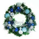 【摩達客】14吋豪華高級綠色聖誕花圈(藍銀色系)(台灣手工組裝)