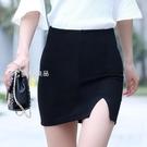 窄裙開叉包臀裙半身裙女春夏新款黑色一步短裙子夏OL工裝職業包裙 快速出貨