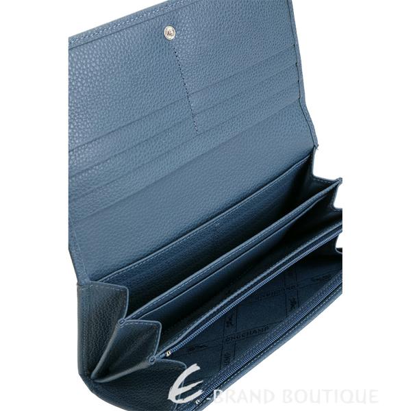 LONGCHAMP Le Foulonne 多夾層荔紋牛皮釦式長夾(機師藍) 1910161-85