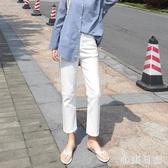 白色高腰牛仔褲女夏季薄款2020新款直筒寬鬆九分顯瘦煙管老爹褲子 KP1341『小美日記』