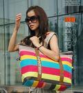 新款韓國女式帆布包包超大包彩色條紋休閒包...