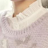假領子襯衫穿搭領片  必敗款質感立領荷葉邊洋裝針織大學T毛衣內搭預購黑色白色[E1039]朵曼堤洋行