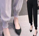闊腿褲女夏新款寬鬆韓版百搭哈倫薄款束腳九分紗雪紡寬褲 Ic386『男人範』