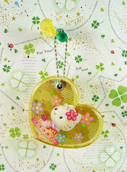【震撼精品百貨】Hello Kitty 凱蒂貓-摺疊鏡-黃心和風