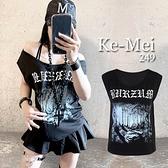 克妹Ke-Mei【AT68145】歐美INS暗黑設計個性字母可穿露肩上衣