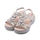 LUZZI 牛皮鑽葉厚底涼鞋 白 女鞋