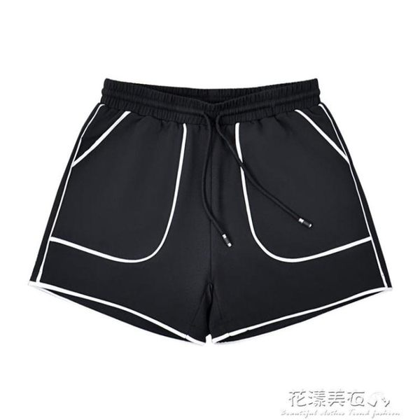 南極人闊腿運動短褲女春夏學生韓版寬鬆百搭顯瘦外穿高腰黑休閒褲·花漾美衣