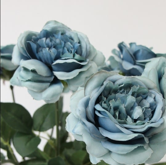 [協貿國際]單枝油畫藍色芙蓉茶玫/仿真花絹花裝飾花/樣板房會所專供