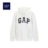 Gap男裝 簡約logo套頭連帽休閒上衣 490386-灰白色