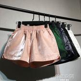 韓版時尚閃光短褲女春夏熱褲高腰寬鬆a字闊腿褲百搭休閒褲 韓語空間