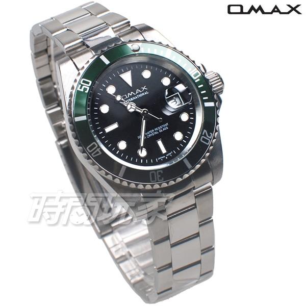 OMAX 十足個性 時尚流行錶 水鬼錶 加強夜光 不銹鋼帶 男錶 防水手錶 OM4057綠框黑