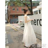 洋裝 女裝新款雪紡洋裝百搭長裙文藝學生抹胸白色吊帶仙女裙 綠光森林