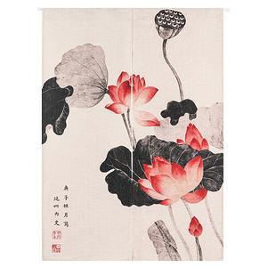 HONEY COMB 中國古典水墨荷花棉麻門簾 風水簾GT-3609