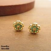 §海洋盒子§小巧可愛金色小花鑲嵌綠色碎鑽925純銀耳環.貼耳耳環