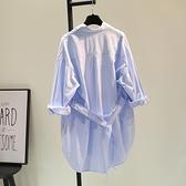藍色腰帶棉麻中長款襯衣裙女2021春季新款雙口袋襯衫寬鬆休閒開衫 快意購物網