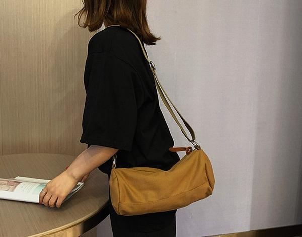 【帆布包】純棉 波士頓圓筒包 側背包 斜背包/側背+斜跨/拉鍊/咖黃