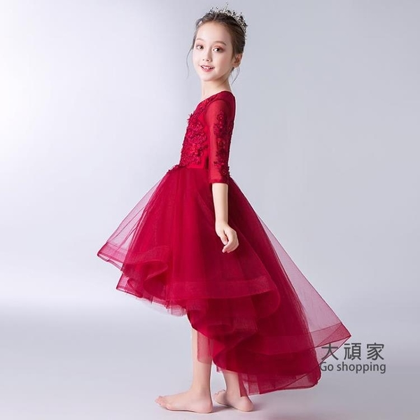 花童禮服 公主裙 女童公主裙蓬蓬紗兒童走秀晚禮服小主持人鋼琴演出服花童婚紗裙夏
