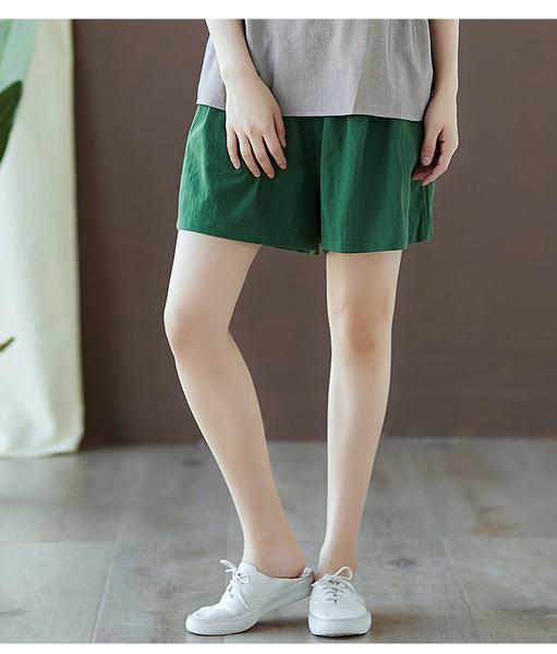 【YOUNGBABY中大碼】百搭寬版鬆緊腰口袋棉麻褲裙.共3色(30-40)
