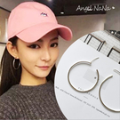 銀針耳環-簡約925銀針鍍銀大圈圈耳釘耳針3cm.4cm.5cm (SRA0043) AngelNaNa