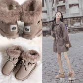 雪地靴女短筒新款冬季兔毛厚底加絨棉鞋學生一腳蹬短靴子    東川崎町    YYS