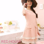 【RED HOUSE-蕾赫斯】甜美氣質領圍裙襬壓摺洋裝