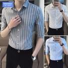 商務修身條紋襯衫男士寬鬆加肥加大碼七分袖襯衣胖子夏季短袖寸衫短袖襯衫