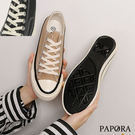 PAPORA綁帶休閒厚底低筒帆布鞋K18013黑/卡