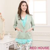 【RED HOUSE-蕾赫斯】翻領七分袖短版西裝外套(綠色)