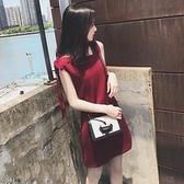 無袖洋裝 紅色小禮服 嬌小矮個子150CM顯高145夏季XS女裝155復古海邊度假V領少女連身裙
