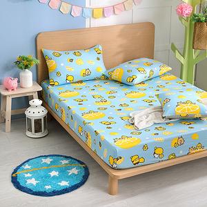 【BREAD TREE麵包樹】精梳棉加大床包+枕套三件組(檸檬派對)檸檬派對(淺藍)