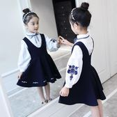 女童春裝套裝裙韓版背帶裙連衣裙