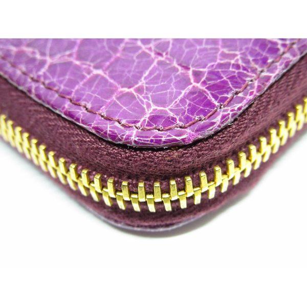 miu miu 紫色漆皮鱷魚紋ㄇ字型拉鍊長夾  【BRAND OFF】