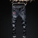新品特惠# 秋季牛仔褲男韓版修身小腳男裝玫瑰刺繡破洞彈力新款