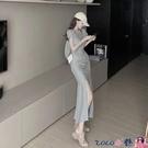 熱賣魚尾洋裝 2021年夏季新款抽褶皺開叉短袖連身裙修身顯瘦魚尾裙洋氣性感長裙【618 狂歡】