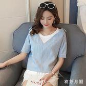 2019新款韓版寬鬆條紋學生假兩件T恤夏季潮流短袖時尚百搭假兩件休閒上衣 QW4622『衣好月圓』