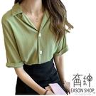 EASON SHOP(GW3409)韓版氣質純色方形鈕釦薄款小V領短袖襯衫女上衣服連肩袖寬鬆內搭衫顯瘦閨蜜裝綠色