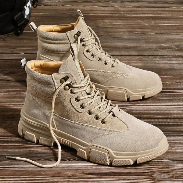 戰術鞋 冬季馬丁靴男高幫男士靴子加絨工裝男靴中幫加厚男鞋作戰保暖棉鞋 歐歐