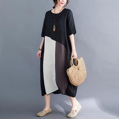 棉麻洋裝~胖妹妹大碼洋裝連身裙~大碼女裝寬松拼接拼色棉麻連身裙女FFA028A愛尚布衣