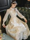 復古宮廷裙束腰旗袍改良版連衣裙女秋冬溫柔風仙女裙長裙禮服氣質