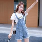 吊帶短褲 牛仔背帶褲女短褲韓版寬鬆2021年夏季新款闊腿顯瘦小個子連體褲 韓國時尚 618